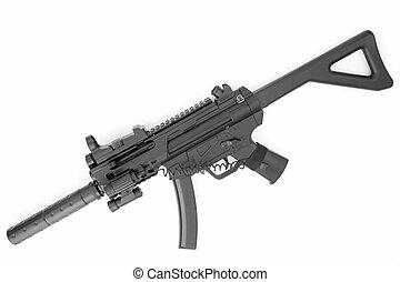 submachine gevär, med, a, ljuddämpare