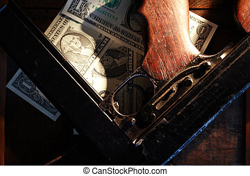 Old USA submachine gun closeup near one dollar bank notes