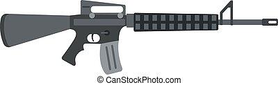 Submachine gun icon color silhouette vector illustration...