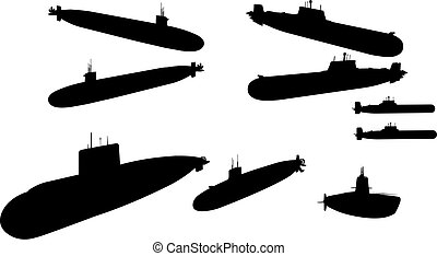 Submarines in vector