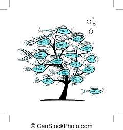submarinas, árvore, com, engraçado, peixes, para, seu, desenho