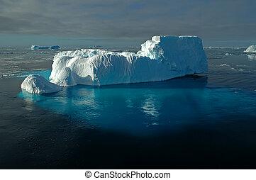 submarinas, antárctico, iceberg, gelo