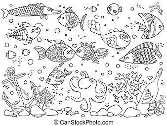 submarinas, coloração, sailboat., conchas, corais, peixe,...