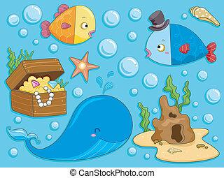 submarinas, elementos, desenho