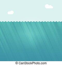 submarinas, ilustração, cena, profundo, água oceano, vetorial, fundo, sob