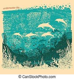 submarinas, silueta, mar, textura, papel, fundo, antigas, golfinhos