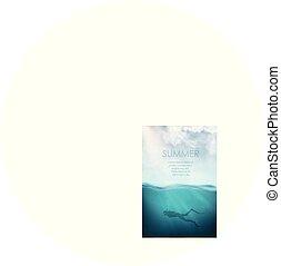 submarinas, vetorial, mergulhador, mar, realístico