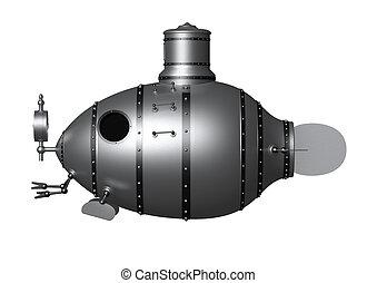 submarine 2 - 3d illustration of an ancient submarine