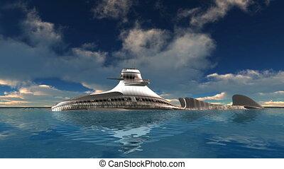 Submarine - 3D CG rendering of a submarine
