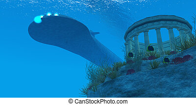 Submarine - A submarine passes over a Greek temple ruin near...