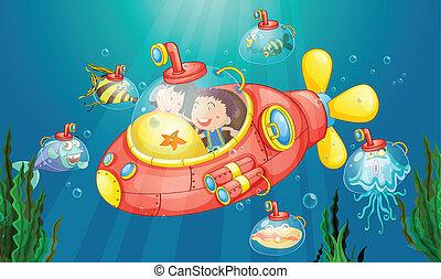 Submarine adventure - Illustration of a sumarine adventure