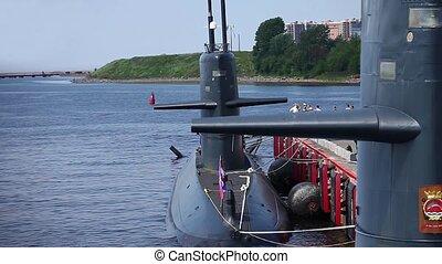 submarine at the pier