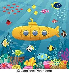 Submarine Background - Cartoon yellow submarine underwater.