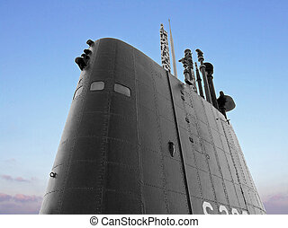 Big black submarine control deck with snorkel
