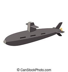 Submarine cartoon icon isolated on a white background