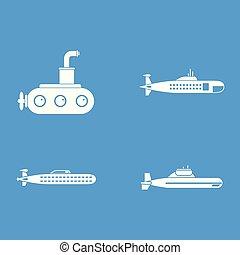 Submarine icon blue set vector