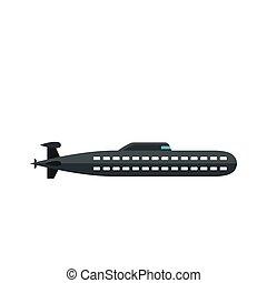 Submarine icon, flat style