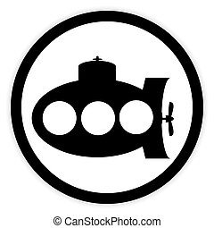 Submarine icon on white.