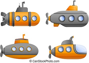 Submarine icon set, cartoon style