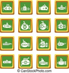 Submarine icons set green square vector - Submarine icons...