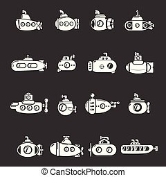 Submarine icons set grey vector - Submarine icons set vector...