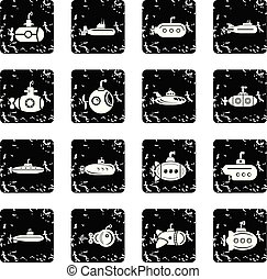 Submarine icons set grunge vector - Submarine icons set...