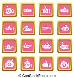 Submarine icons set pink square