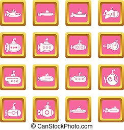 Submarine icons set pink square vector