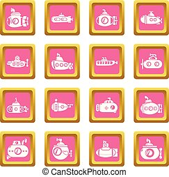 Submarine icons set pink square vector - Submarine icons set...