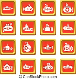 Submarine icons set red square vector - Submarine icons set...