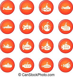 Submarine icons set red vector - Submarine icons set vector...