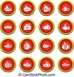 Submarine icons set, simple style - Submarine icons set....