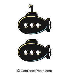 Submarine illustration set