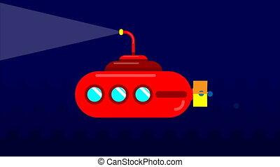 Submarine in flat design, art video illustration.
