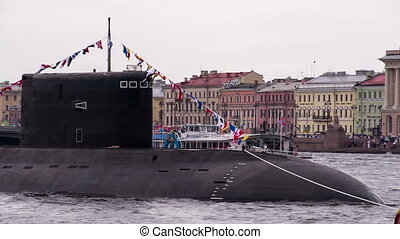 Submarine in Urban Areas - Submarine on a background of city...