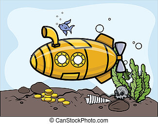 Submarine in Water - Vector - Drawing Art of Cartoon...