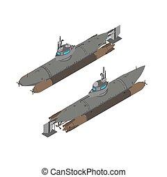 Submarine isometric flat vector illustration ship design icon isolated defense sea