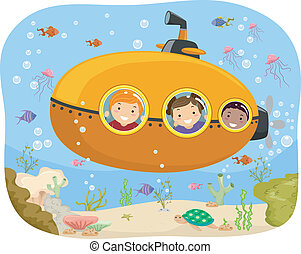 Submarine Kids - Illustration of Kids Riding a Mini...