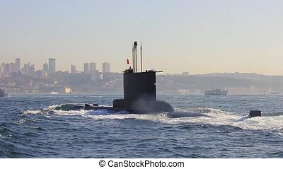 Submarine moving into Bosporus waters. Navy Submarine....
