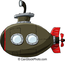 Submarine on a white background, vector illustration
