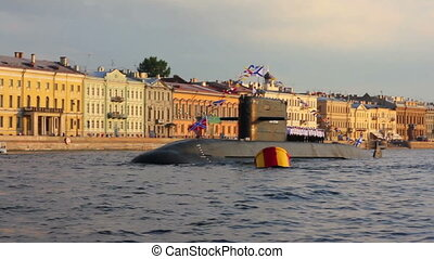 submarine on Neva River - day of the Navy in Saint-Petersburg Russia