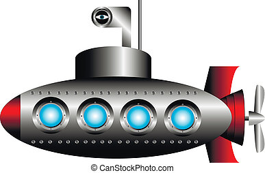 Submarine on white background - vector illustration.