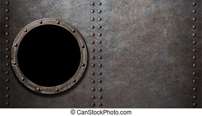 submarine or battleship porthole metal background -...