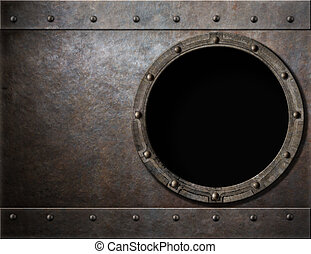 submarine or battleship porthole steam punk metal background...