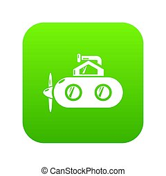 Submarine periscope icon green