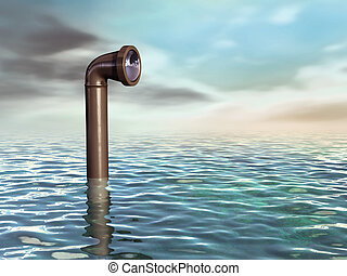 Submarine periscope - Periscope emerging from a water...