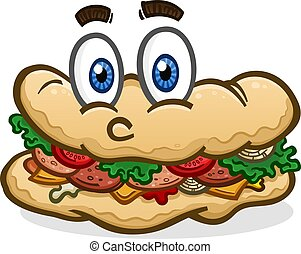 A big delicious sub, hoagie or po'boy with eyes and a face, topped with lunch meat, condiments and toppings