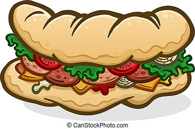 A big delicious sub, hoagie or hero sandwich topped with lunch meat, condiments and toppings