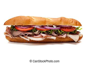 Submarine sandwich on a white background