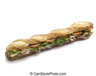 submarine sandwich on white